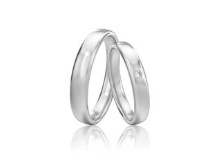3D illustration two silver classic wedding rings with diamond with reflection