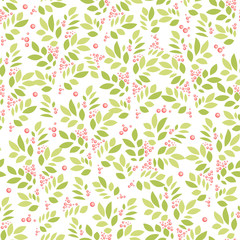 Summer and spring background with leaves and berries