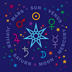 «Septener». The Ancient Star of Medieval magicians. Seven classical planets of Astrology. (Gem version).