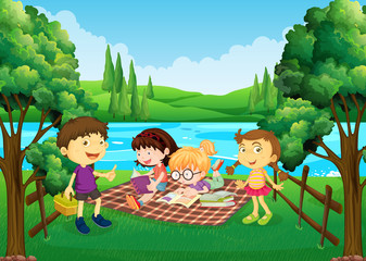 Children having picnic by the river