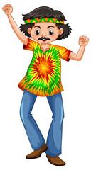 Man in hippie clothes