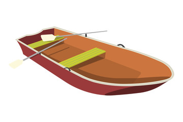 Boat flat icon and sign. Cartoon Vector Illustration