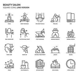 Beauty salon, square icon set