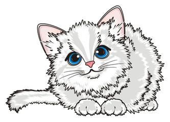 Kitten, cat, animal, friend, pet, small, cartoon, meow, little, furry, toy, sit, lying, play