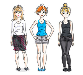 Attractive young women posing in stylish casual clothes. Vector diversity people illustrations set.