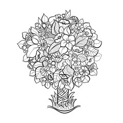 Doodle art tree. coloring book for adult.   Hand-drawn design element.