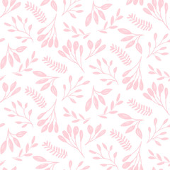 Cute pink floral print of leaf. Vector seamless pattern.