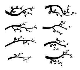 Stylized black tree branch silhouettes. Vector Illustration