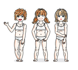 Different cute little girls standing in white underwear. Vector diversity kids illustrations set. Childhood and family lifestyle clip art.