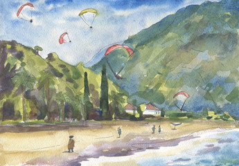 Paragliders and people on the Turkish beach. Watercolor painting