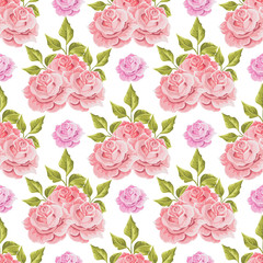 Floral seamless pattern with bouquets roses. Vector hand drawn background.