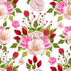 Floral seamless pattern with colorful bouquets of flowers.  Vector hand drawn background.