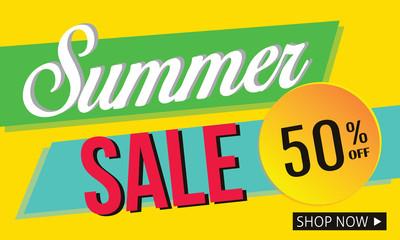 summer sale banner promotion discount background design illustration vector