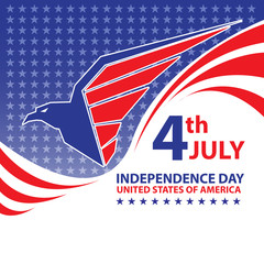 Fourth July Independence Day United States Of America design poster eagle logo on stars pattern vector illustration.