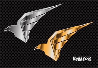 Eagle logo silver and gold on dark gray circle mesh design vector illustration.