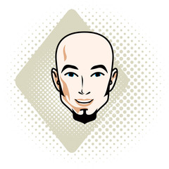 Vector illustration of handsome bald male face with beard, positive face features, clipart.