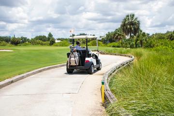 Man Driving Golf Cart on Path
