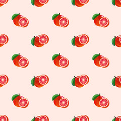 Seamless background image colorful watercolor texture tropical fruit red grapefruit