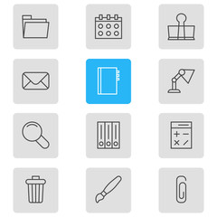Vector Illustration Of 12 Tools Icons. Editable Pack Of Archive, Paperclip, Illuminator And Other Elements.