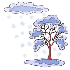 Winter snow  and tree