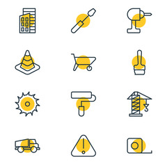 Vector Illustration Of 12 Industry Icons. Editable Pack Of Handcart, Road Sign, Measure Tape Elements.