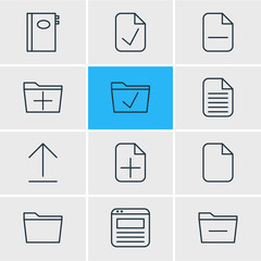 Vector Illustration Of 12 Bureau Icons. Editable Pack Of Done, Document, Book And Other Elements.