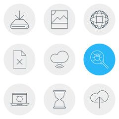 Vector Illustration Of 9 Web Icons. Editable Pack Of Bug, Secure Laptop, Cloud Download And Other Elements.