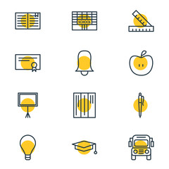 Vector Illustration Of 12 Education Icons. Editable Pack Of Cap, Fruit, Diploma And Other Elements.