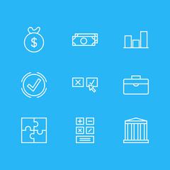 Vector Illustration Of 9 Management Icons. Editable Pack Of Building, Calculate, Bag And Other Elements.