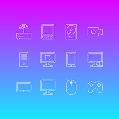 Vector Illustration Of 12 Computer Icons. Editable Pack Of Mainframe, Router, Antivirus And Other Elements.