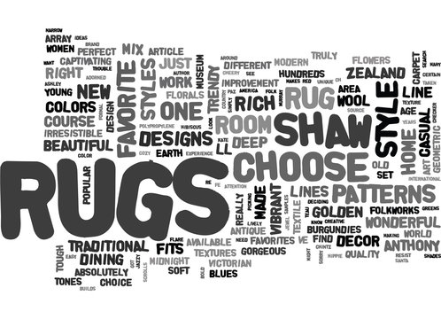 WHICH STYLE OF SHAW RUGS FITS YOUR STYLE TEXT WORD CLOUD CONCEPT