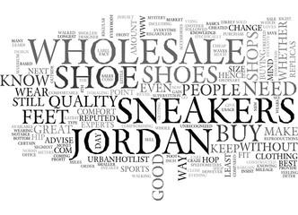 WHOLESALE JORDAN SNEAKERS TEXT WORD CLOUD CONCEPT