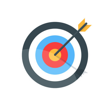 Target with arrow. Goal achieve concept. Premium quality vector illustration in flat style isolated on white background.