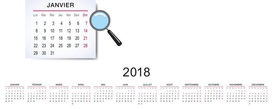 CALENDRIER 2018 FRANÇAIS_dimension des 12 blocs 626x49mm_chiffres Arial Narrow corps 11 (vectorisé)_ech.1