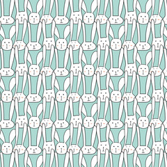 Vector Pattern With Cute Bunnies.