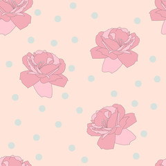 Seamless pink rose and confetti pattern. Flower background. Vecor illustration.
