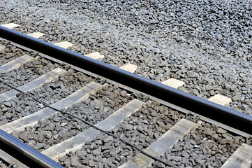 Railroad tracks on diagonal, railroad