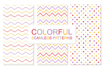 Colorful simple seamless patterns. Vector bright backgrounds for your design.