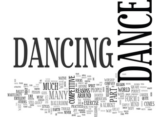 WHY NOT DANCE TEXT WORD CLOUD CONCEPT