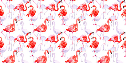 Tuinposter Flamingo Sky bird flamingo in a wildlife by watercolor style isolated. Wild freedom, bird with a flying wings. Aquarelle bird for background, texture, pattern, frame, border or tattoo.