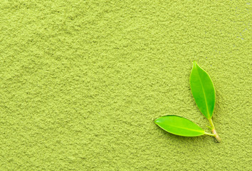 Background of green powder with tea leaves
