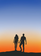 Male and female couples  Walking hand in hand warm silhouette .