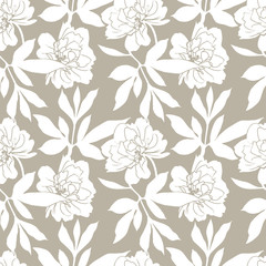 Peony Flowers Seamless Pattern.