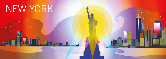 New York-city silhouette in different colors