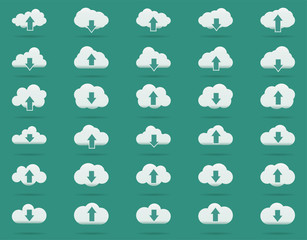 Cloud line icons Set, Solid vector illustration, linear pictogram