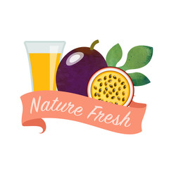 Colorful watercolor texture vector nature organic fresh fruit juice banner passion fruit