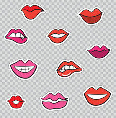 Patch Badges with Lips and Mouths. Vector illustration isolated on transparent background. Set Pack of stickers, pins, patches in cartoon 80's - 90's comic style.