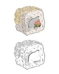 Vector sushi roll color sketch.
