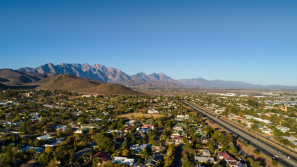 Aerial view over Worcester in the Western Cape of south Africa in the Breede Valley