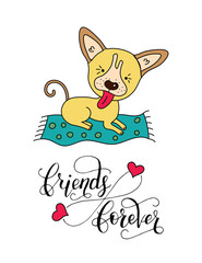 Vector dog card with handdrawn lettering message.